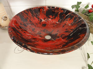 Handfat i glas, Red Marble SN129